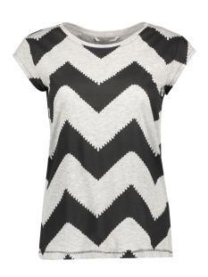Only T-shirt onlBONE ZIG ZAG SS TOP JRS 15141518 Light Grey Melange/ Big Zig Zag