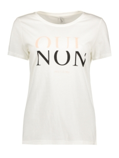 Only T-shirt onlCOTTON REG S/S VOGUE/QUI TOP BOX 15133419 Cloud Dancer/ Qui