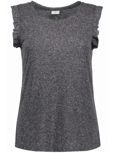 Jacqueline de Yong T-shirt JDYRILEY S/L FRILL TOP JRS 15129413 Dark Grey Melange/ W. Cloud Dancer