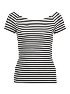 Only T-shirt onlLIVE LOVE STRIPE SS OFF SHOULDER 15139112 Black/ Cloud Dancer