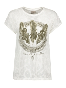 Vero Moda T-shirt VMANIMAL BURNOUT S/S T-SHIRT D2-3 10177633 Snow White