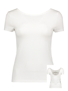 Only T-shirt onlLIVE LOVE SS LACE UP TOP NOOS 15131597 White