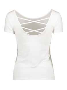 onllive love ss lace up top noos 15131597 only t-shirt white