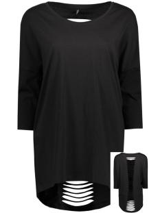 Only T-shirt onlABBIE 3/4 LASER CUT TOP ESS RP1 15136402 Black