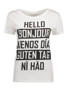 Jacqueline de Yong T-shirt JDYCHICAGO S/S PRINT TOP 02 JRS 15132005 Cloud Dancer/ Hello