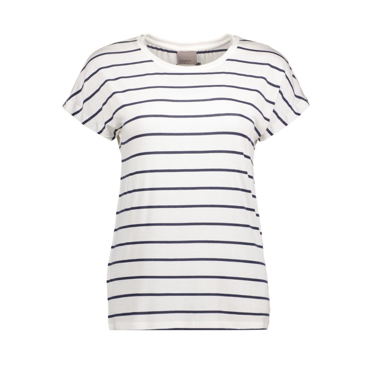 vmcharly stripe/dot o-neck ss top n 10178234 vero moda t-shirt snow white/black iris