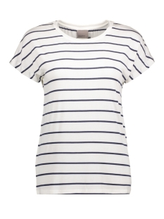 VMCHARLY STRIPE/DOT O-NECK SS TOP N 10178234 Snow White/Black Iris