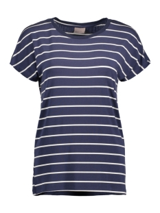 VMCHARLY STRIPE/DOT O-NECK SS TOP N 10178234 Black Iris/Snow White