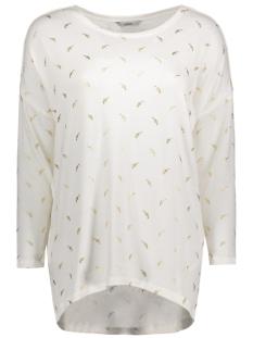 Only T-shirt onlMELIA 3/4 TOP JRS 15140214 Cloud Dancer/ Gold Foil