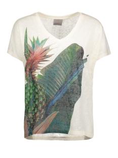 Vero Moda T-shirt VMOTILLA SS WIDE TOP BOX DNM JRS 10176999 Snow White/Pineapple