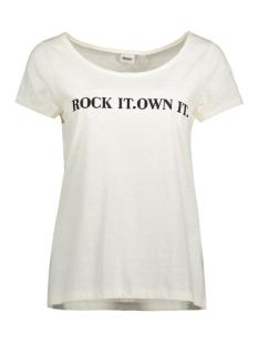 Object T-shirt OBJBIRDY MARIE S/S TOP PB PS OEKO-T 23023702 Gardenia