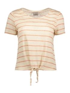 Vero Moda T-shirt VMREZA S/S KNOT TOP A NOOS 10171546 Oatmeal/Cedar Wood