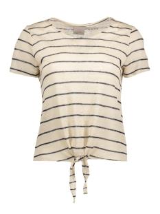 Vero Moda T-shirt VMREZA S/S KNOT TOP A NOOS 10171546 Oatmeal/Navy Blazer