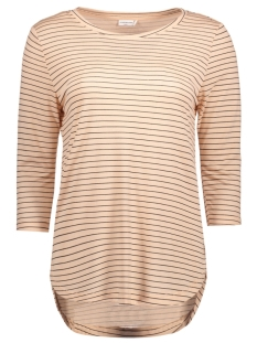 Jacqueline de Yong T-shirt JDYSUKIE 3/4 STRIPE LONG TOP JRS 15131709 Cameo Rose/Black