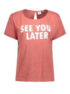 Object T-shirt OBJCAMELOT S/S TOP 86.I 23022676 Dusty Cedar