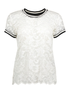 Jacqueline de Yong T-shirt JDYMAYA S/S LACE TOP JRS 15134544 Cloud Dancer