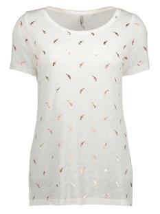 Only T-shirt onlJANIE S/S FOIL AOP TOP BOX ESS 15135013 Cloud Dancer/ Pistol