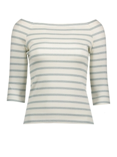 Vero Moda T-shirt VMYENGE OFFSHOULDER 3/4 TOP NFS 10182703 Snow White/Blue Surf