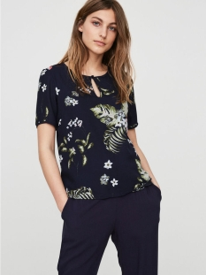vmbloom s/s top d2-4 10180079 vero moda t-shirt navy blazer/ bloom