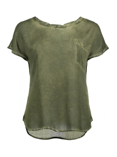 Object T-shirt OBJELLEN DALLAS S/S TOP 91 23024468 Ivy Green