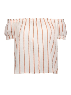 Vero Moda T-shirt VMSTRIPY OFFSHOULDER S/S TOP A 10172409 Snow White/Ceder Wood