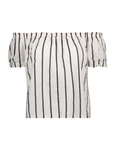 Vero Moda T-shirt VMSTRIPY OFFSHOULDER S/S TOP A 10172409 Snow White/Black Thin