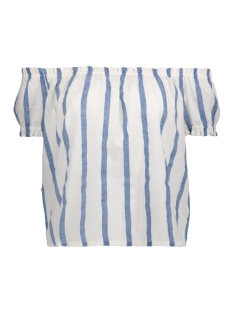 Vero Moda T-shirt VMSTRIPY OFFSHOULDER S/S TOP A 10172409 Snow White/Blue Wide