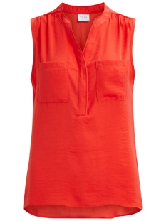 Vila Top VIMELLI S/L POCKET TOP - NOOS 14033198 Hot Coral