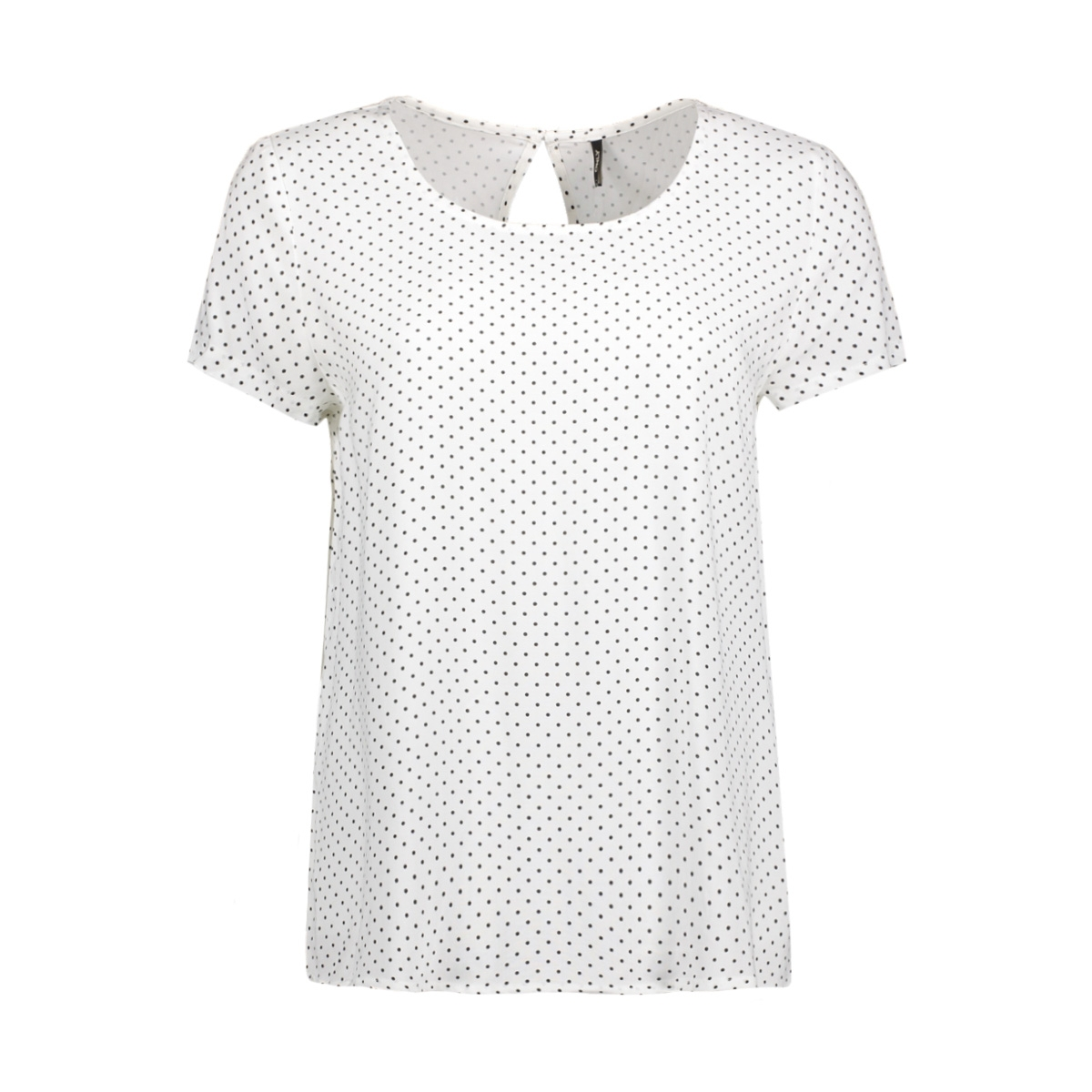 onlfirst ss mix aop top  noos wvn 15138761 only t-shirt cloud dancer/ w. black dots