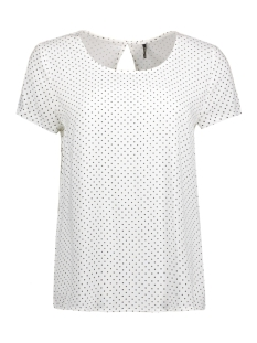 Only T-shirt onlFIRST SS MIX AOP TOP  NOOS WVN 15138761 Cloud Dancer/ W. Black Dots