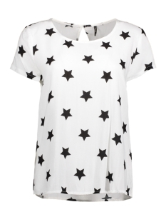 Only T-shirt onlFIRST SS MIX AOP TOP  NOOS WVN 15138761 Cloud Dancer/ W. Black Star