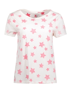 Only T-shirt onlSTARS S/S PRINT TOP BOX ESS 15134981 Cloud Dancer/ Star (Teaberry)