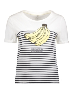Only T-shirt onlBENITA S/S PRINT TOP BOX ESS 15135457 Cloud Dancerr/ Bananas