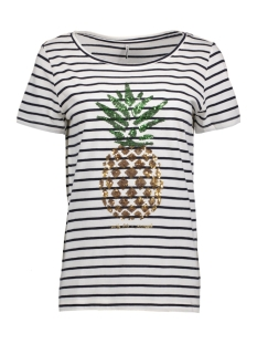 Only T-shirt onlKITA S/S SEQUINS PINEAPPLE BOX E 15135463 Cloud Dancer/ Pineapple
