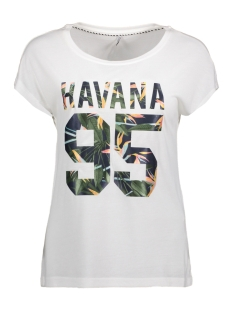Only T-shirt onlBECCY S/S HAVANA TOP ESS 15135707 Cloud Dancer/ Havana