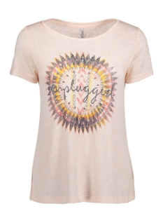 Only T-shirt onlPIPER S/S UNPLUGGED/LIFE TOP BOX 15135723 Peach Whip/ Unplugged