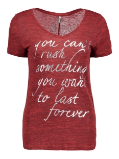 Only T-shirt onlDENNIE S/S RUSH/NOW TOP BOX ESS 15147087 High Risk Red