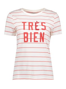 Only T-shirt onlCALLI S/S PALM/TRES TOP BOX ESS 15138262 CLoud Dancer/red