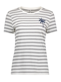 Only T-shirt onlCALLI S/S PALM/TRES TOP BOX ESS 15138262 Cloud Dancer/Palm Blue
