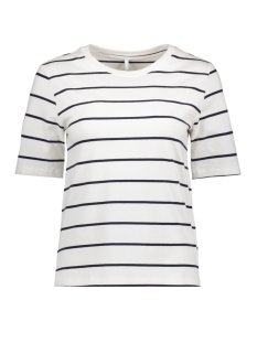 Only T-shirt onlLIVE LOVE TRENDY STRIPE SS O-NECK 15139111 Cloud Dancer/Night Sky