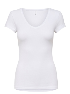 Only T-shirt onlLIVE LOVE NEW SS V-NECK TOP NOOS 15140450 White
