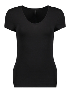 Only T-shirt onlLIVE LOVE NEW SS V-NECK TOP NOOS 15140450 Black