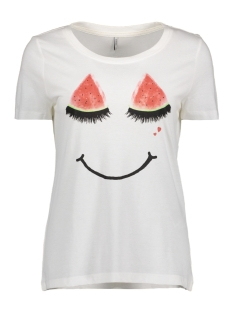onlMELON S/S PRINT TOP BOX ESS 15137976 Cloud Dancer/Melon Smile