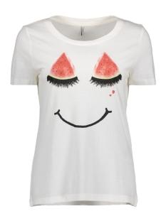 Only T-shirt onlMELON S/S PRINT TOP BOX ESS 15137976 Cloud Dancer/Melon Smile