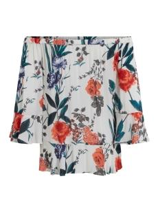 vibloomy 3/4 sleeve top gv 14041345 vila blouse cloud dancer/ bloomy p
