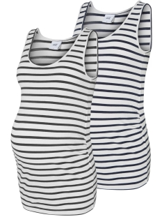 Mama-Licious Positie shirt MLLEA ORGANIC Y/D TANK TOP 2PACK 20006302 Snow White/Y/D 1. Snow
