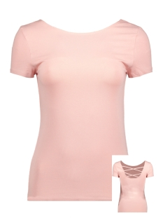 Only T-shirt onlLIVE LOVE SS LACE UP TOP NOOS 15131597 Rose Smoke