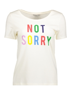 Only T-shirt onlWHATEVER SS TOP BOX JRS 15144837 Cloud Dancer/Not sorry