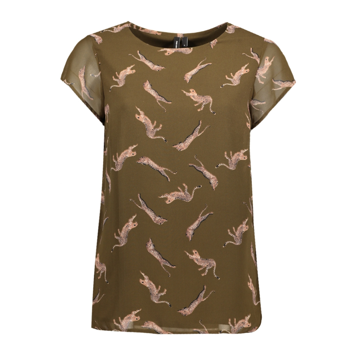 vmliz s/s side slit boca ff17 10188890 vero moda t-shirt dark olive