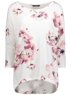 Only Trui onlELCOS OLGA 4/5 TOP JRS 15147151 Cloud Dancer/PINK FLOWE